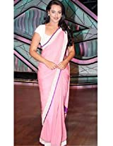 Sonakshi Sinha Exclusive Silver Border Pink Chiffon Bollywood Saree DLI4SRR548