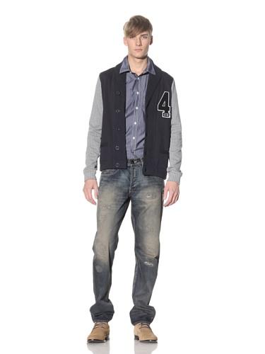 J.C. Rags Men's Shawl Collar Cardigan (Dark Navy)