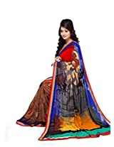 Vibes Women's Weightless Saree, With Fency Border (S20-1259-A_ Multi-Coloured)