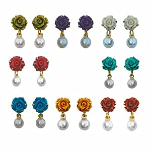 Nisa Pearls Multi colour Earring Combo for Women