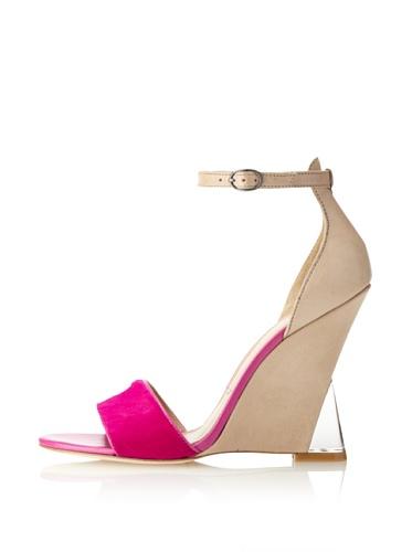 Sigerson Morrison Women's Dali Wedge Sandal (Tortora-Fuchsia)