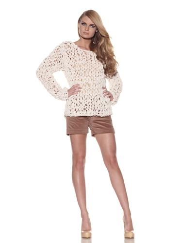 Foley + Corinna Women's Norma Crochet Chiffon Sweater (Nude)