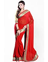 Red Embroidered Saree Sourbh Sarees