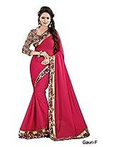 Shree laxmi creations women,s RED colour chiffon saree