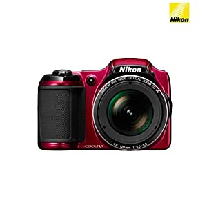 Nikon Coolpix L820 16MP Point-and-Shoot Digital Camera (Red) with 4GB Card, Camera Pouch, HDMI Cable