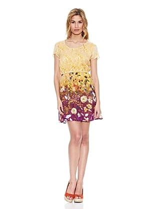 Peace & Love Vestido Cuello Redondo Floral (Amarillo)