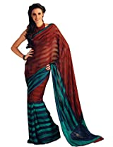 Charu Boutique Chiffon Saree (Blue Red_Free Size)