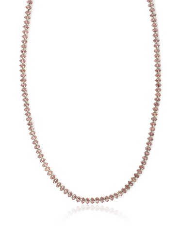 Lulu Frost 1940's Art Deco Long Crystal Necklace, Antique Silver/Pink
