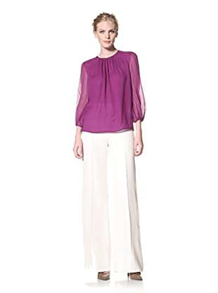 GIAMBATTISTA VALLI Women's Gathered Neck Blouse (Purple)