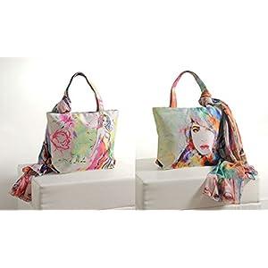 Shopping World Faux Silk With Shiffon Stole Hand Bag - Girl
