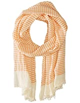 Saro Lifestyle Women's Striped Design Scarf, Orange, One Size