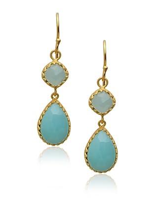 Kevia Rococo 2-Drop Earrings, Chalcedony