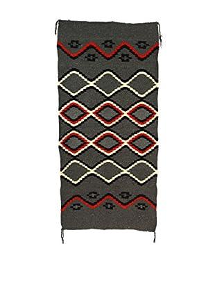 Navajo Style Rug, Gray, Red, White, Black