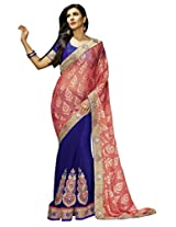 Manvaa Dashing Light Pink And Blue saree with blouse piece