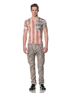 gene par YUKIO MISHIBA Men's American Flag T-Shirt (Off-White)