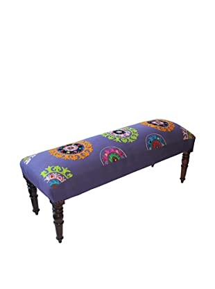Mélange Home Suzani Embroidered Bench, Purple