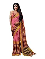 Incredible Pink with Peach & Purple Coloured Casual Cotton Saree