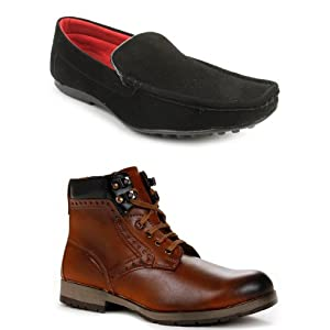 Bacca Bucci Men's Brown Boots & Black Loafers Combo