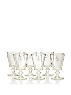 La Rochère Set of 6 Bee Décor Footed Water Goblets