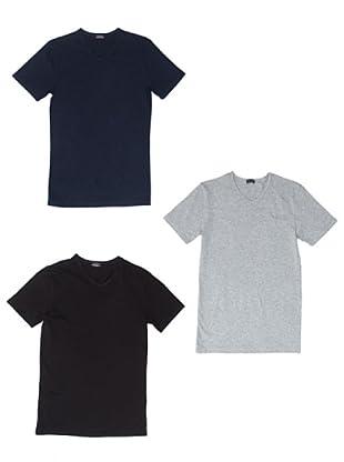 Kappa Pack 3 Camiseta mc Caballero Cuello Pico Algodón Elástico (Surtido)