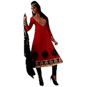 Red Bhagalpuri silk with Zari & taar kaam Work Unstitched Anarkali Salwar Kameez Suit