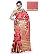Meghdoot Artificial Tussar Silk Saree (MAHA_MT1193_CHERRY Pink Color Sari)