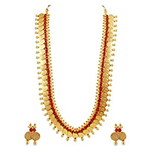 Traditional South Indian Style Long Temple Jewellery Coin Necklace Set in Red Color