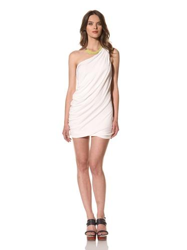 Cut25 Women's Matte Jersey One-Shoulder Dress (Optic)