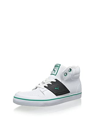 PUMA Men's El Ace 2 Mid Perforated Sneaker (White/Green Lake)