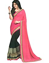 Faux Georgette Pink & Black Colour Saree for Party Wear