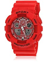 Fs207-Rd01 Red/Red Analog & Digital Watch