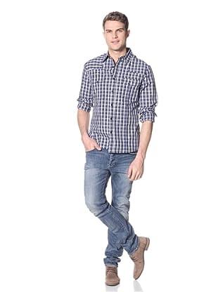 Dorsia Men's Daniel Long Sleeve Button-Up Shirt (Blue Plaid)