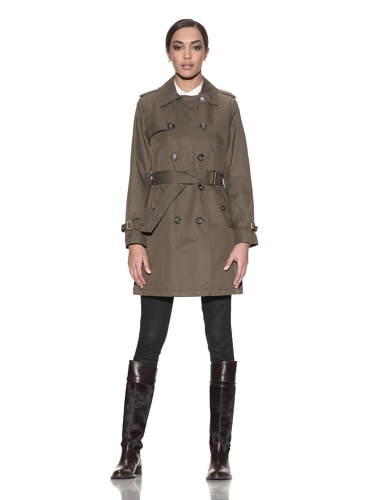 Hilary Radley New York Women's Double Breasted Trench with Faux Leather Trim (Olive)