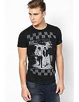 Black Solid Crew Neck T Shirt