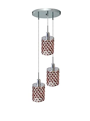 Elegant Lighting Mini Crystal Collection 3-Light Round Pendant Lamp, Bordeaux