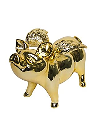Interior Illusions Piggy Bank with Wings, Gold