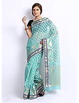 Bunkar Net Saree With Blouse Piece (1302Asb -Blue)