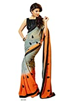 Grey Partywear Georgette Saree