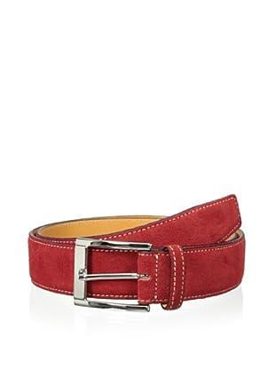 Leone Braconi Men's Velour Z Suede Belt (Red)