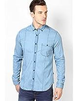 Light Blue Full Sleeve Solid Denim Shirt