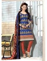 Saara Blue And Red Printed Dress Material - 144D4033