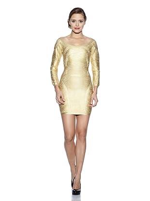 Corizzi & Absolu Vestido Escote En Espalda Cóctel (Oro)