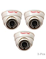 TouchTec Dome IR Camera 800 TVL with 3.6 MM Lens, 36 LED with Stand-3 Pcs