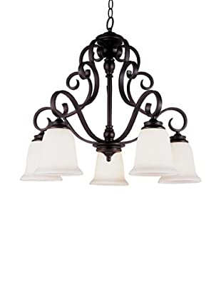 TransGlobe Garland II 5-Light Chandelier with Down-Lights, Oil-Rubbed Bronze