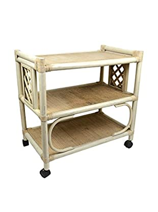 Uptown Down Previously Owned 3-Tier Bamboo & Wicker Serving Cart