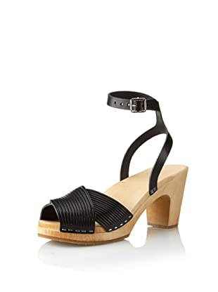 Swedish Hasbeens Women's Strappy Sandal (Black/nature)