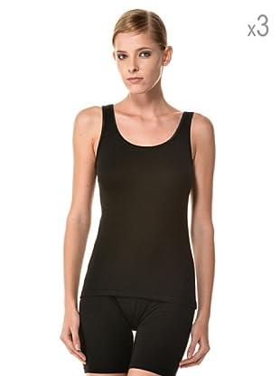 Anyma by Cotonella Pack 3 Camisetas Tirantes Transpirable Perfil Satinado (Negro)