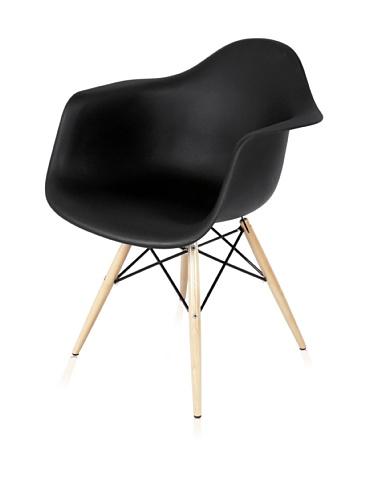 Mid Century Eiffel Arm Chair with Wooden Dowel Legs (Black)