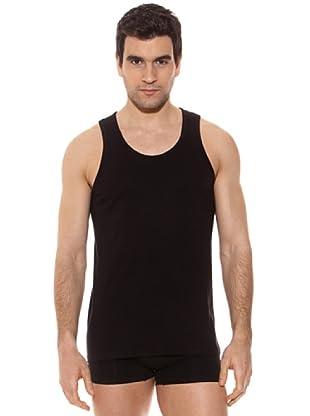 Kappa Camiseta tirantes Caballero Redondo Cuello Redondo 100% Algodón (Negro)