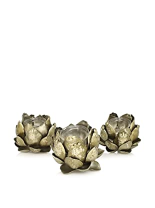 A&B Home 3-Piece Artichoke Candle Holder, Antiqued Gold